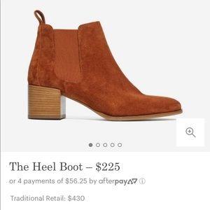 Everlane The Heel Boot in Rust Suede US 6.5 EU 37
